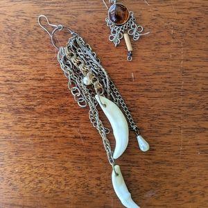Boho Earrings with Coyote Teeth, Pearls & Amber